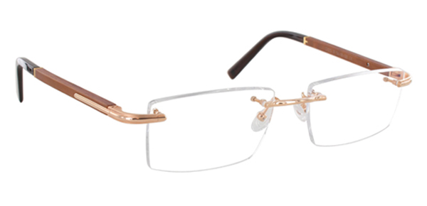 f4c8c853e8 Gold And Wood Rimless Eyeglasses